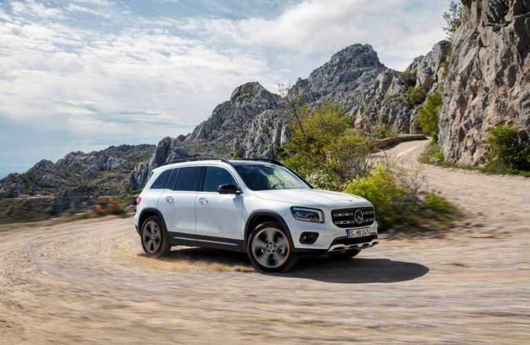 White 2020 Mercedes-Benz GLB driving in desert