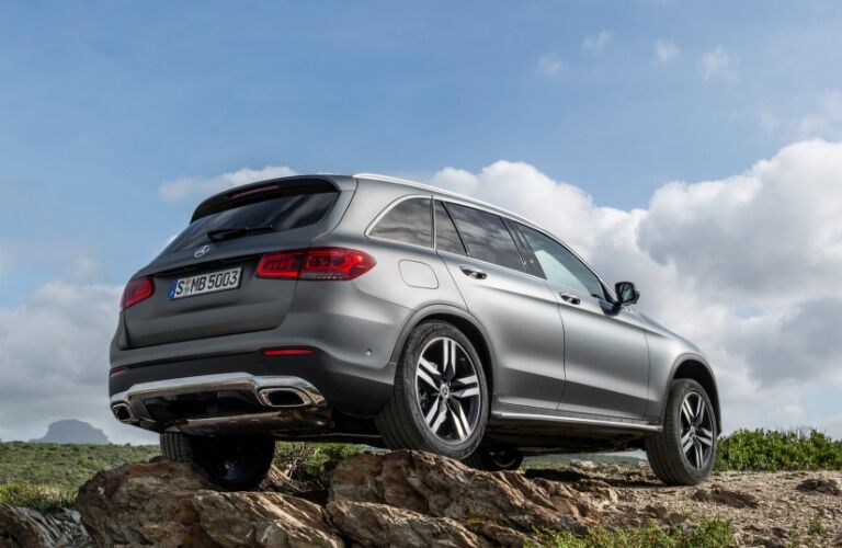 Grey 2020 Mercedes-Benz GLC SUV on rocks