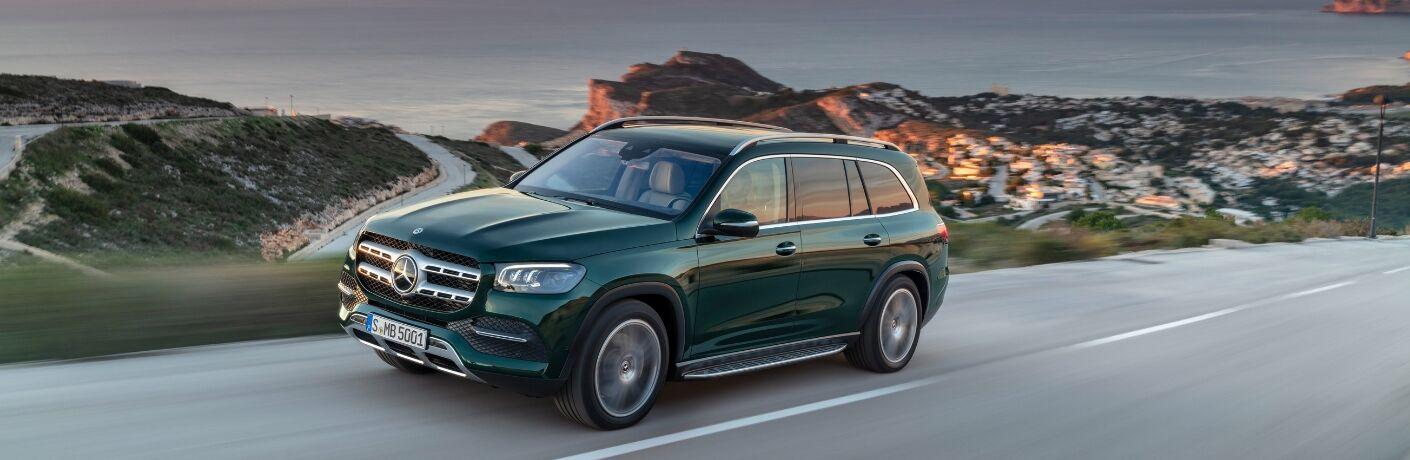 Green 2020 Mercedes-Benz GLS on road