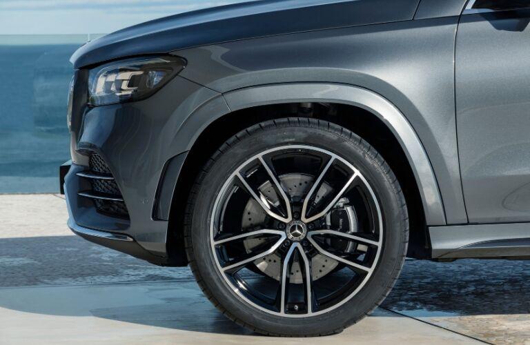 Closeup of wheel on grey 2020 Mercedes-Benz GLS