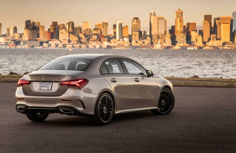 2020 Mercedes-Benz A-Class from exterior rear in front of city and lake