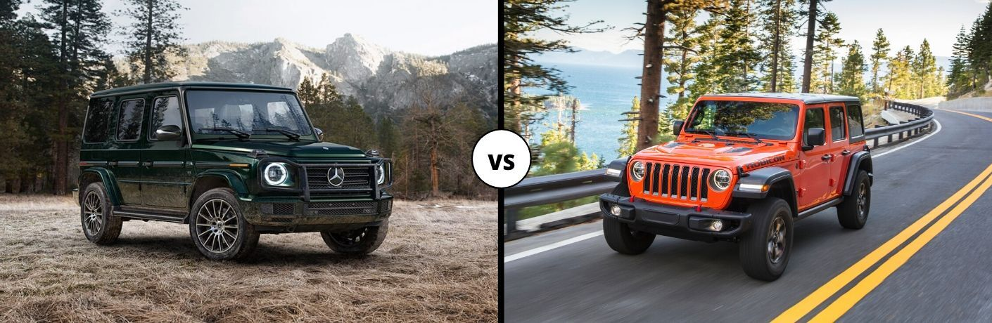 2020 Mercedes-Benz G-class on left vs 2020 Jeep Wrangler on right