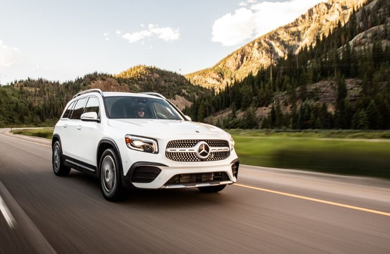 2020 Mercedes-Benz GLB driving in front of mountain