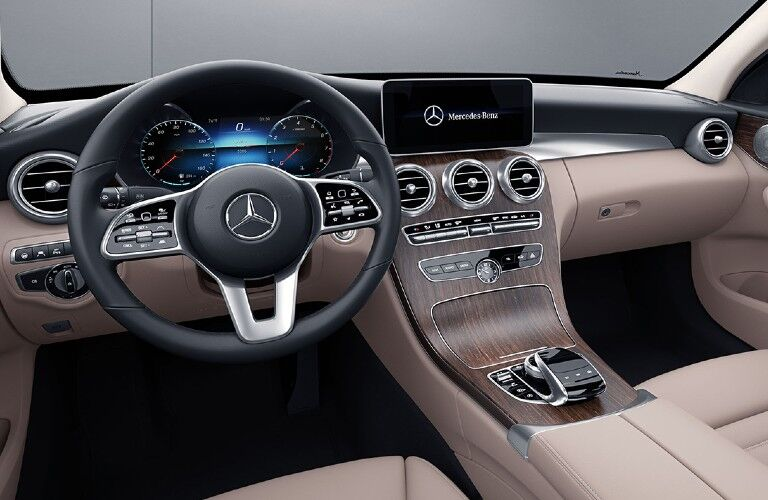 Interior front dash of the 2021 Mercedes-Benz C-Class