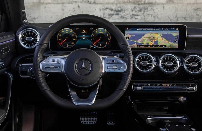 Driver view of steering wheel, display and more
