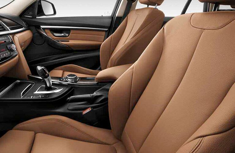 BMW 3 Series Interior View of Front Seats in Tan Leather
