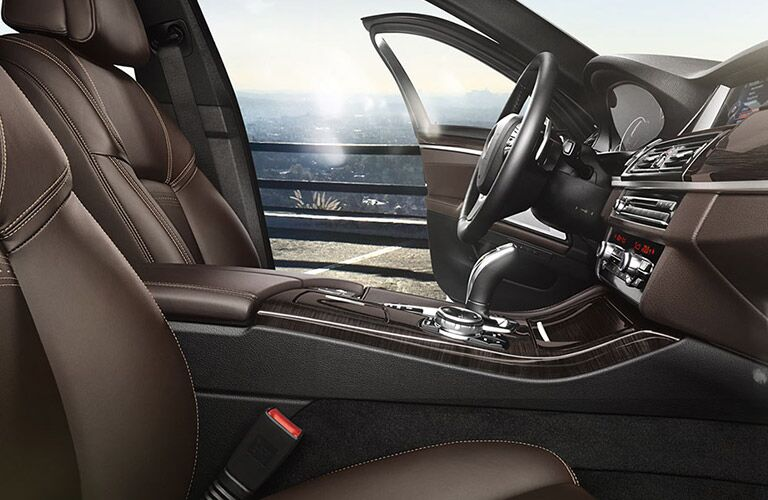 BMW 5-Series Interior View of the Front Driver Seat and Passenger Seat