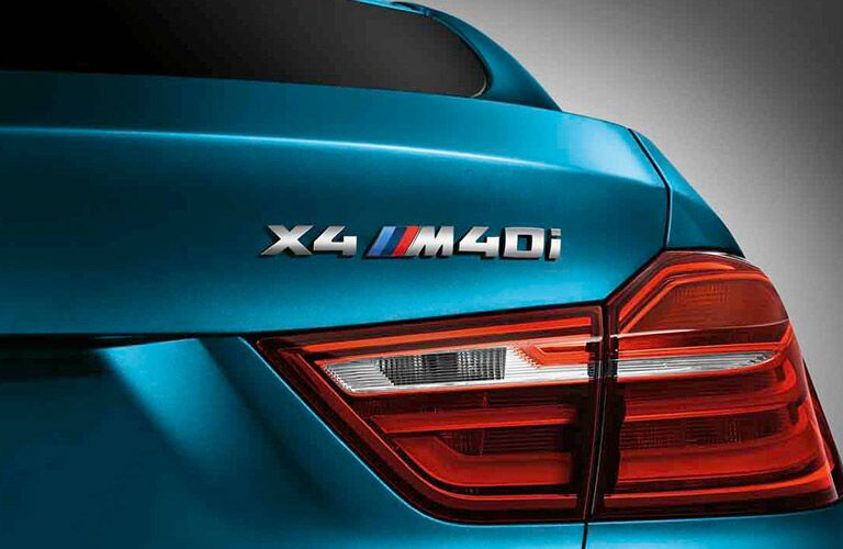 BMW X4 Series View of Badge and Taillight