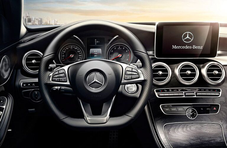 Mercedes-Benz C-Class Interior View of Steering Wheel and Interior Technology
