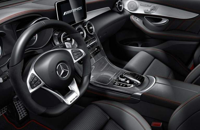 Steering wheel and front interior of 2018 Mercedes-AMG GLC 43 SUV