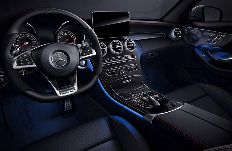 Front interior and center stack of 2018 Mercedes-Benz C 43 AMG® Sedan