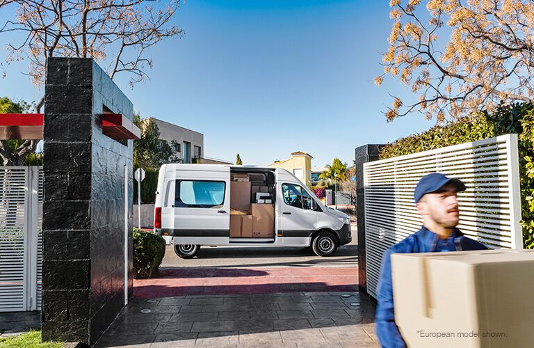 2018 Mercedes-Benz Sprinter  delivering packages in boxes with blurry face