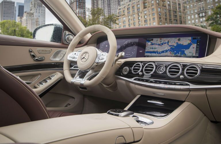 2018 Mercedes-Benz S-Class AMG S 63 tan interior looking at driver dashboard