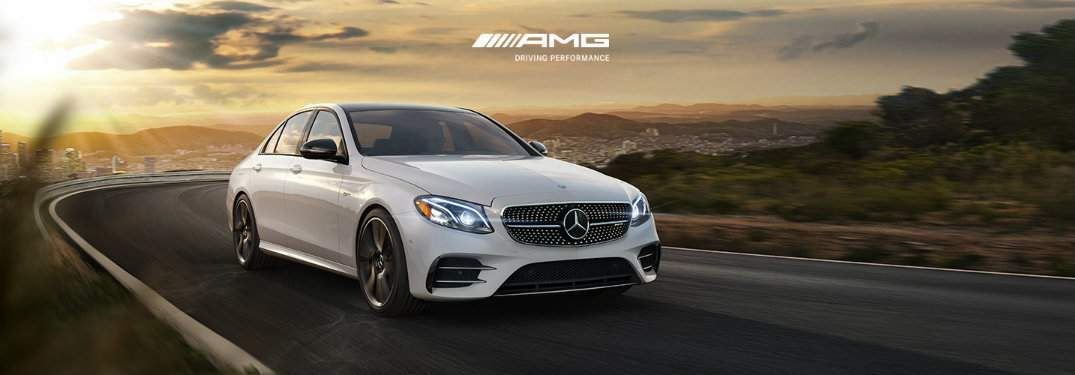 AMG Mercedes-Benz vehicle driving on a curved road