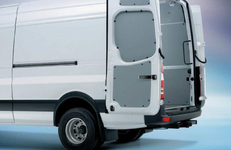 Opened rear doors of 2017 Mercedes-Benz Sprinter Cargo Van