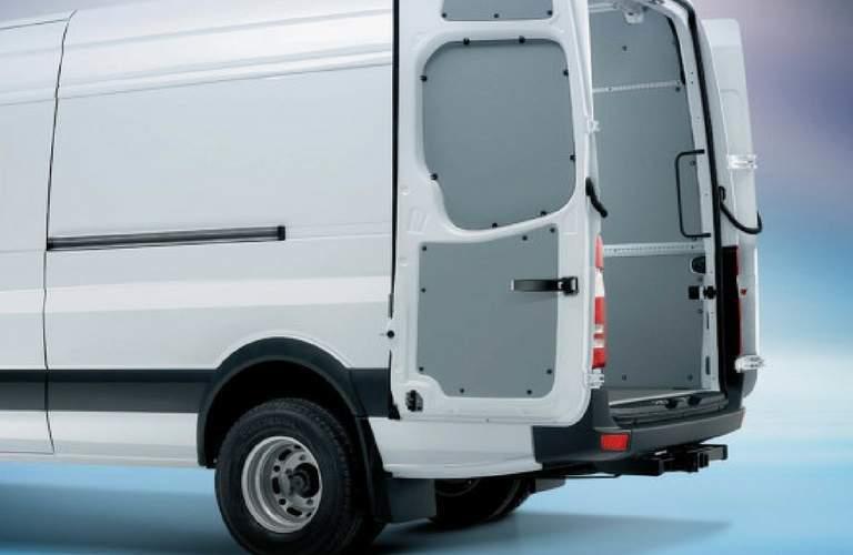 Opened rear doors of 2017 Mercedes-Benz Sprinter Cargo Van