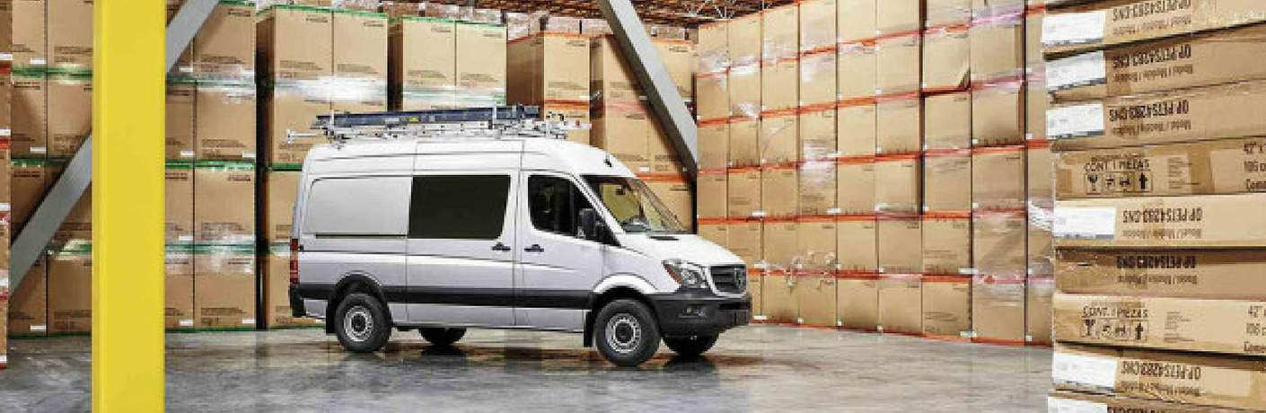 2017 Mercedes-Benz Sprinter Crew Van in a warehouse full of boxes