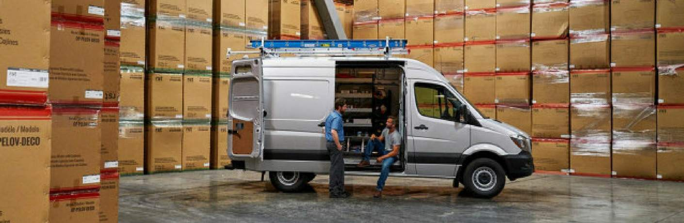 2017 Mercedes-Benz Sprinter Cargo Van in a warehouse full of boxes