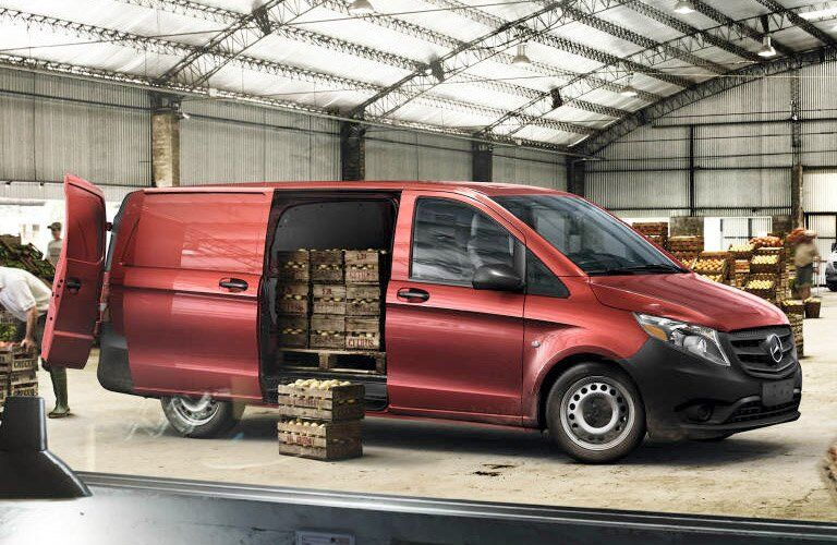 2018 Mercedes-Benz Metris Cargo Van being packed with pallets