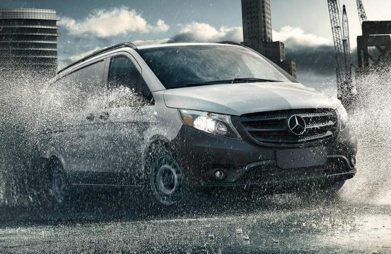 2018 Mercedes-Benz Metris Cargo Van driving through dirt
