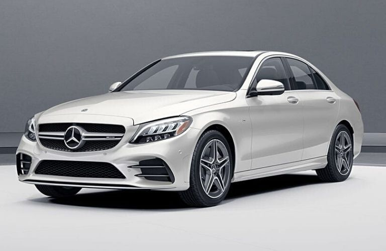 Exterior view of the front of a white 2020 Mercedes-Benz AMG C 43