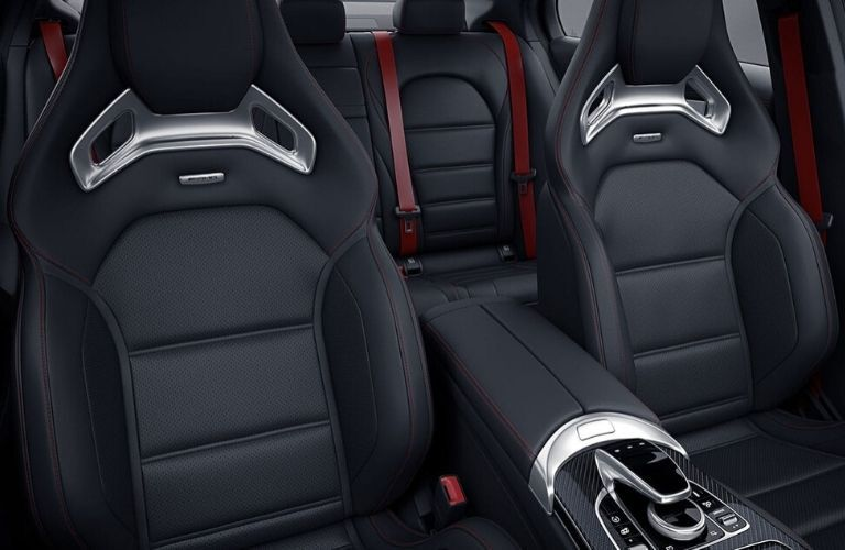 Interior view of the black seating available inside a 2020 Mercedes-Benz AMG C 43