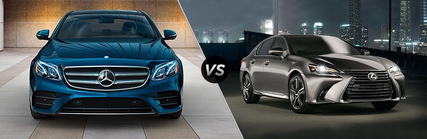 2018 Mercedes-Benz E 300 Sedan in blue vs silver Lexus GS 300