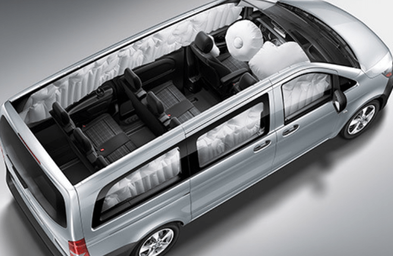 Airbags throughout the 2018 Mercedes-Benz Metris Passenger Van