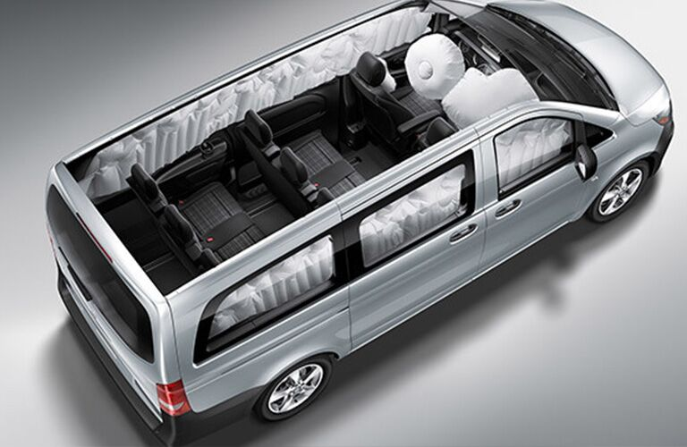 aerial view of 2018 mercedes-benz metris passenger van with interior seating and airbags