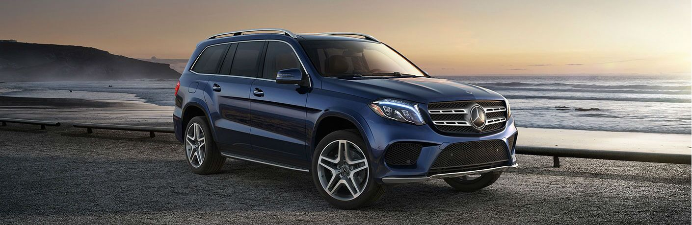 front and side view of blue 2019 mercedes-benz gls 450
