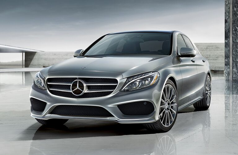 front and side view of gray 2019 mercedes-benz c300