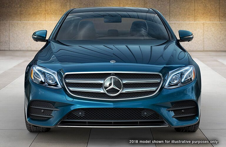 front view of blue 2019 mercedes-benz e300 sedan