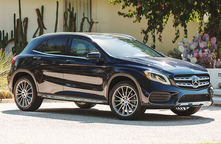front and side view of blue 2019 mercedes-benz gla 250