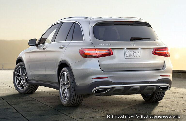rear and side view of silver 2019 mercedes-benz glc 300