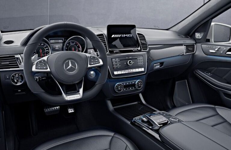 front interior of 2019 mercedes-benz gls 450 including steering wheel and infotainment system