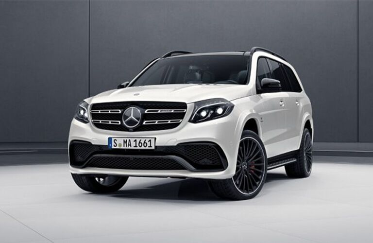 front and side view of white 2019 mercedes-benz gls 450