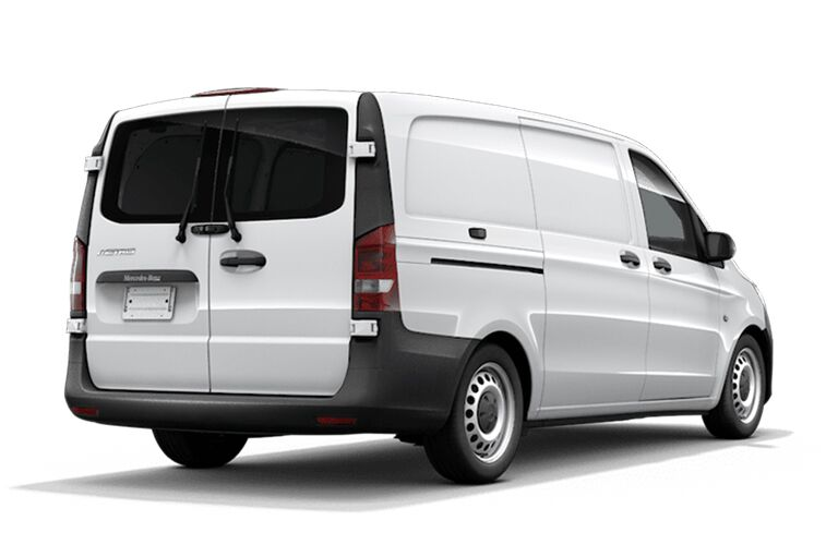 rear and side view of white 2019 mercedes-benz metris cargo van