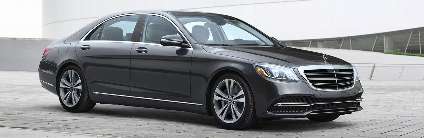 front and side view of gray 2019 mercedes-benz s-class