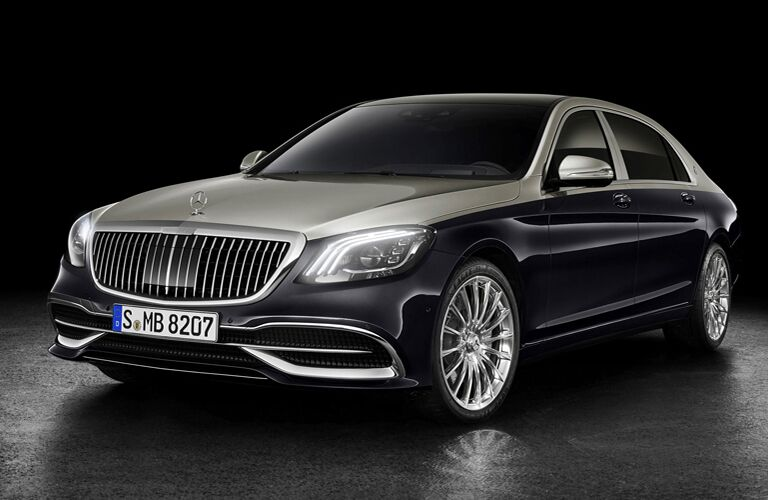 front and side view of black 2019 mercedes-benz s-class