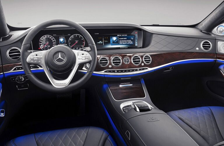 front interior of 2019 mercedes-benz s-class including steering wheel and infotainment system