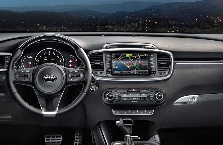2016 Kia Sorento Interior View of Dashboard and Navigation System in Black