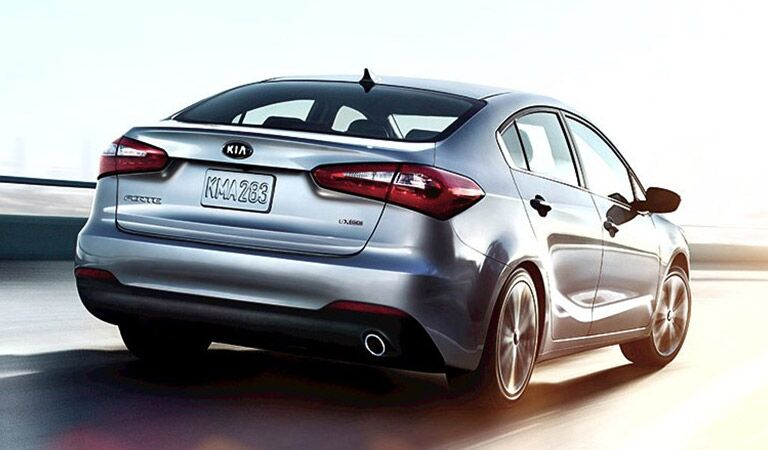 Kia Forte Rear end and Side View in Silver