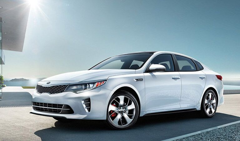 Kia Optima Exterior View in White Parked on Road