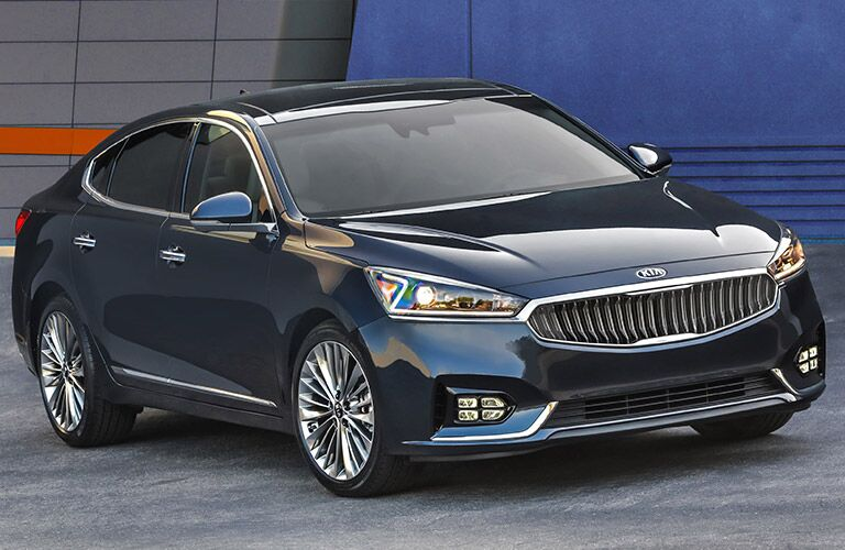 2017 Kia Cadenza Exterior View of Side and Front in Black