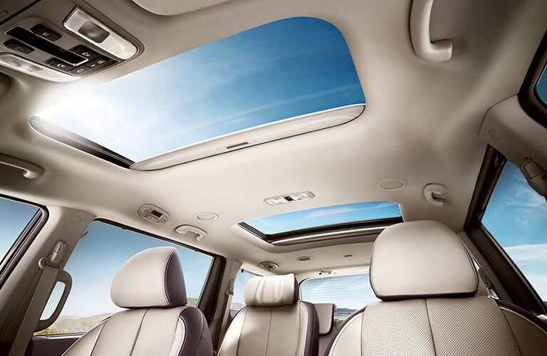 View of Moon Roof and Rear Seating in the 2017 Kia Sedona