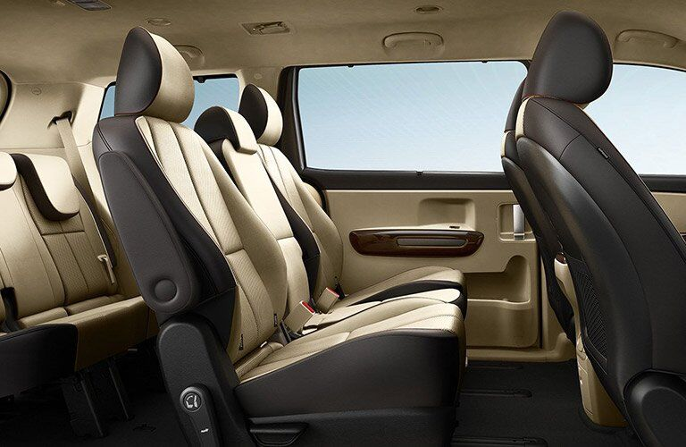 Rear Seating in the 2017 Kia Sedona in Cream