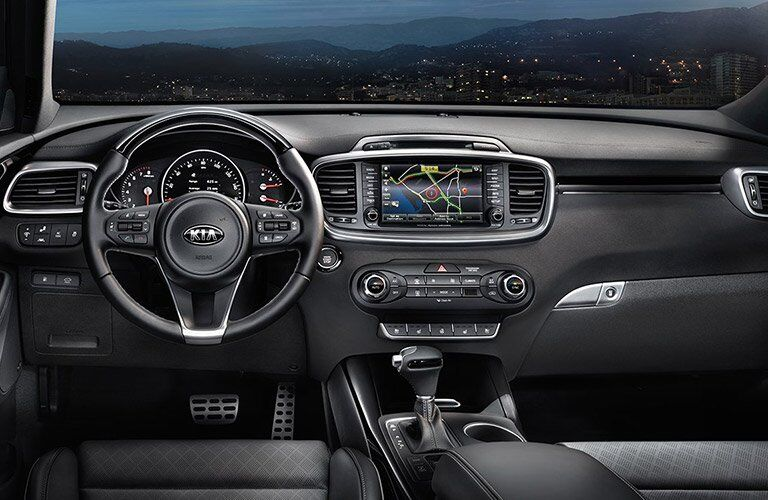 Front Dashboard of the 2017 Kia Sorento in Black