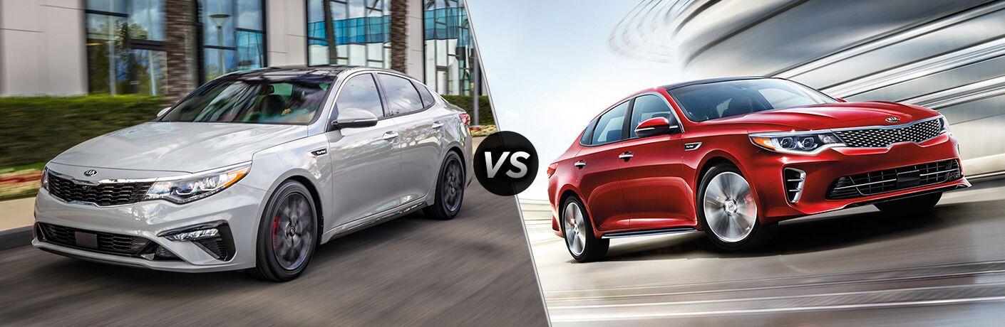 2019 Kia Optima exterior front fascia and drivers side vs 2018 Kia Optima exterior front fascia and passenger side