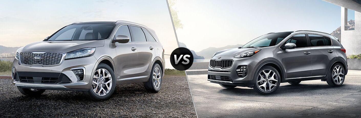 2019 Kia Sorento exterior front fascia and drivers side vs 2019 Kia Sportage exterior front fascia and drivers side