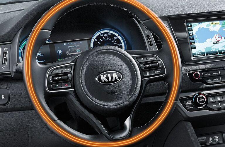 close-up of the 2018 Kia Niro steering wheel